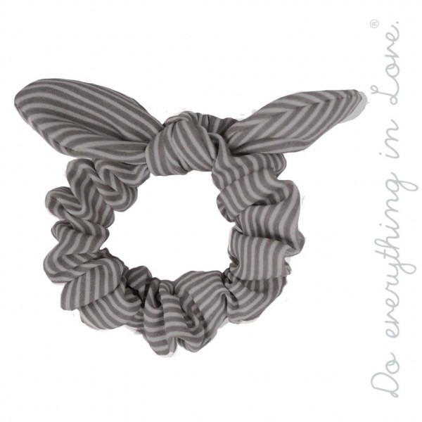 Wholesale do everything Love brand striped bow hair scrunchie One Polyester