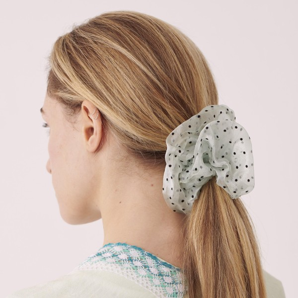 Do everything in Love brand sheer polka dot oversized hair scrunchie.  - One size  - 100% Polyester