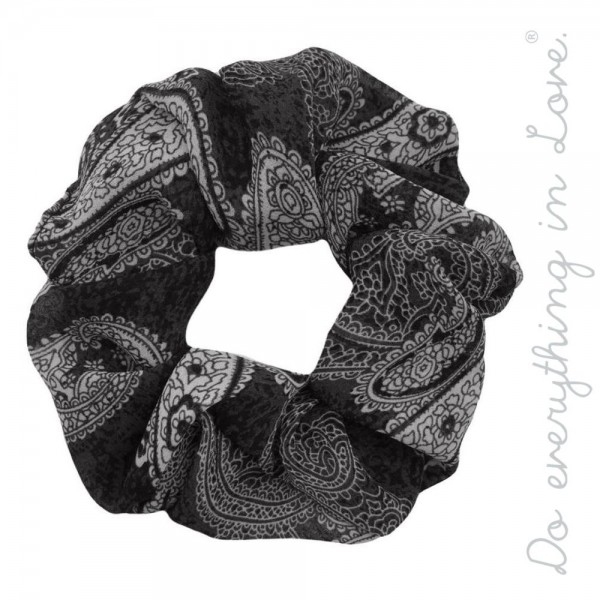 Wholesale do everything Love brand paisley print hair scrunchie One Polyester