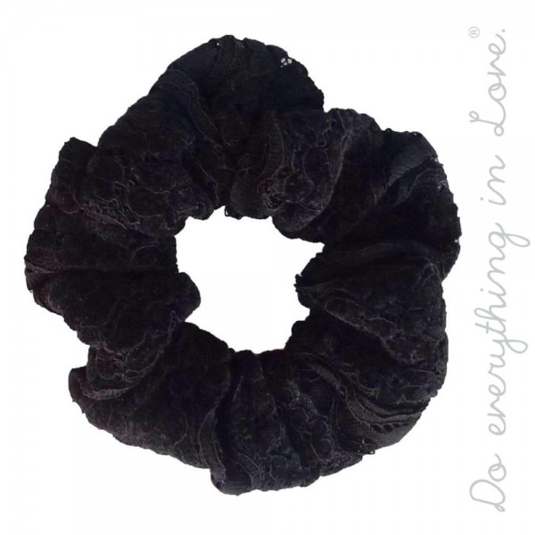 Do everything in Love brand velvet lace hair scrunchie.  - One size - 100% Polyester