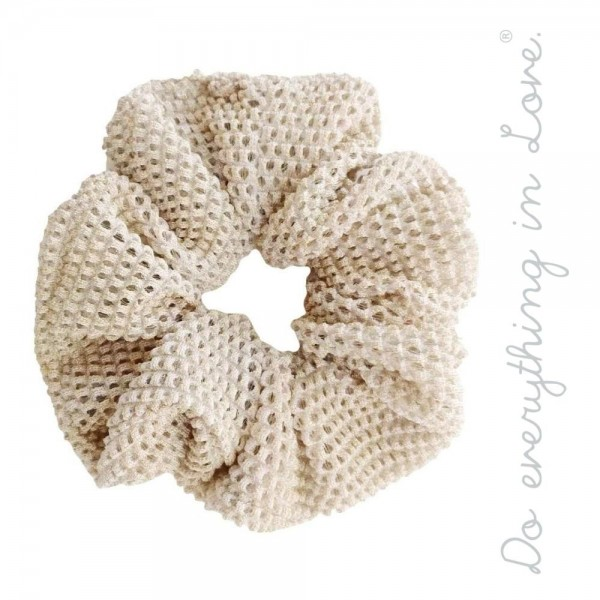"Do everything in Love brand lurex mesh hair scrunchie with ""Do everything in Love"" engraved charm.  - One size  - 100% Polyester"