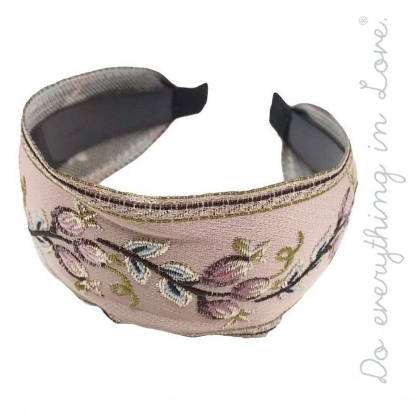 Wholesale do everything Love brand floral embroidered headband One Polyester