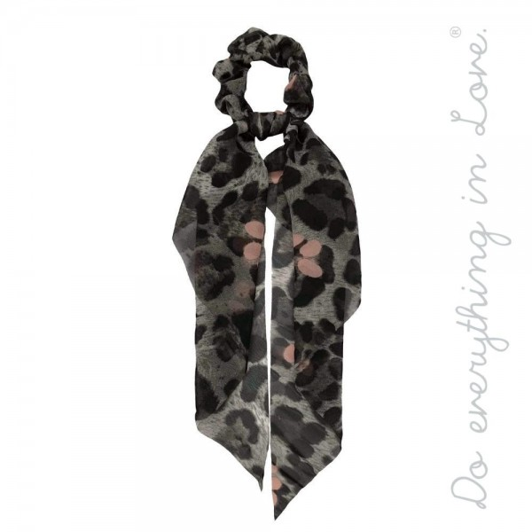 "Do everything in Love brand leopard print hair scarf scrunchie.  - One size - Approximately 11"" L - 100% Polyester"