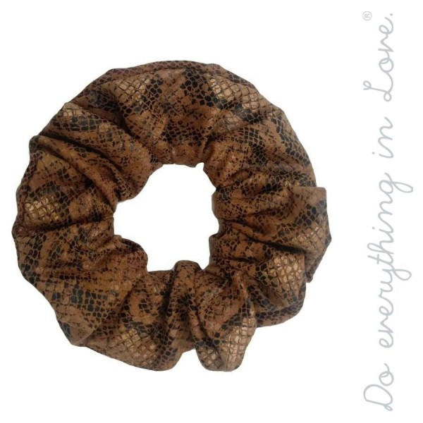 Do everything in Love brand faux leather snakeskin hair scrunchie.  - One size  - 100% Polyester