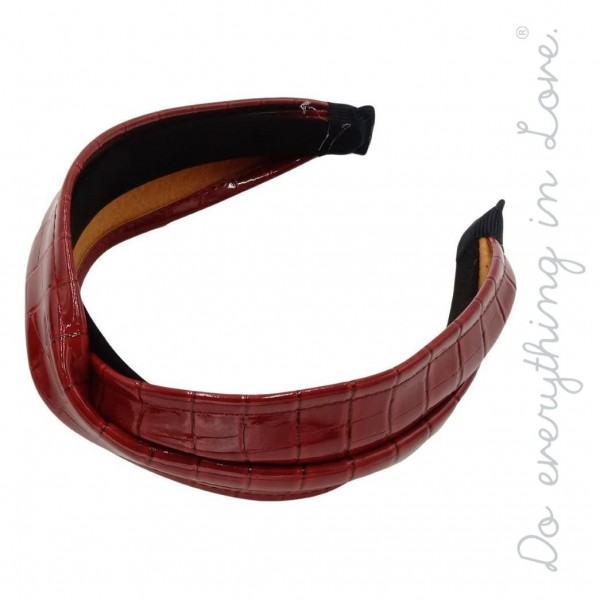 Do everything in Love brand solid crocodile embossed PU headband.  - One size - 100% PU