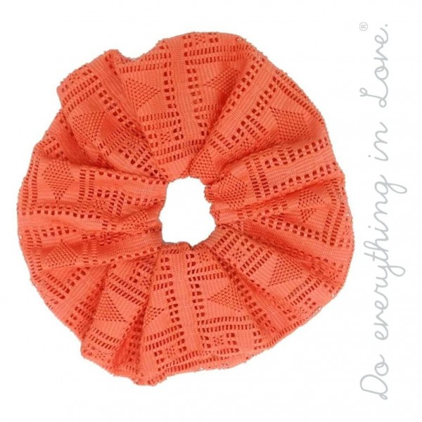 Do everything in Love brand solid laser-cut oversized hair scrunchie.  - One size - 100% Polyester