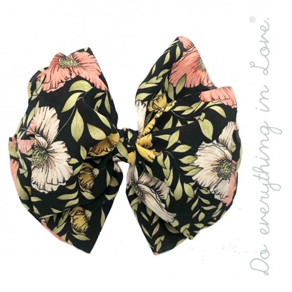 "Do everything in Love brand floral hair bow barrette.  - One size - Approximately 6"" W x 5"" L - 100% Polyester"