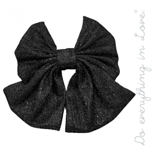 "Do everything in Love brand oversized metallic glitter bow ribbon hair barrette.  - One size - Approximately 6"" W x 5"" L - 100% Polyester"