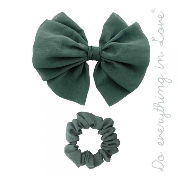 """Do everything in Love brand solid hair barrette and scrunchie set of two.  - 2pcs/pack - 1 Bow Barrette, 1 Scrunchie - Bow Approximately 5"""" x 5""""  - One size - 100% Polyester"""