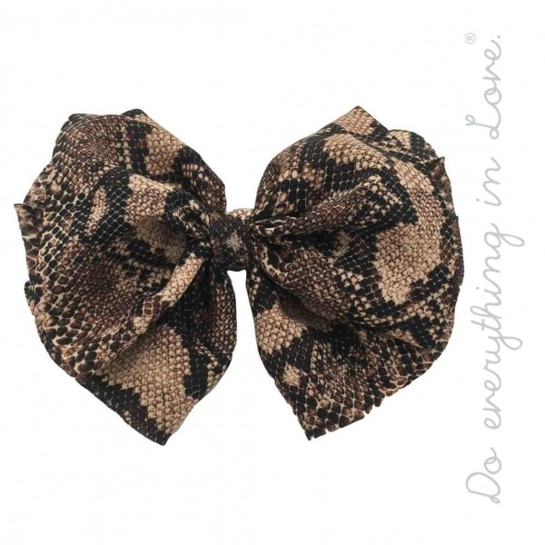 "Do everything in Love brand snakeskin hair bow barrette.  - One size - Approximately 6"" W x 5"" L - 100% Polyester"