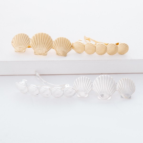 """Worn Silver Seashell Hair Barrette Set.  - 2pcs/set - Approximately 2.5"""" in size"""