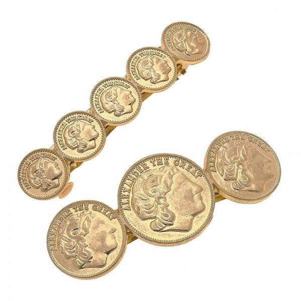 "Worn Gold Coin Hair Barrette Set.  - 2pcs/set - Approximately 2.5"" L"