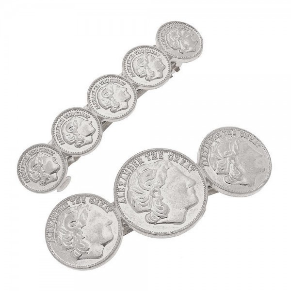 "Worn Silver Coin Hair Barrette Set.  - 2pcs/set - Approximately 2.5"" L"