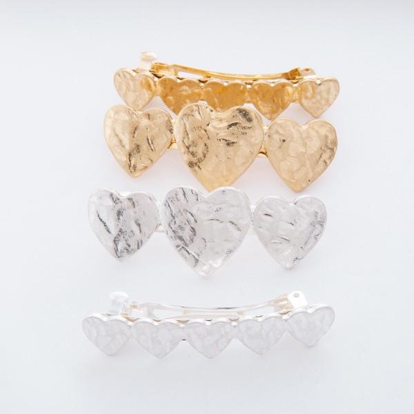"Worn Silver Hammered Heart Hair Barrette Set.  - 2pcs/set - Approximately 2.5"" L"