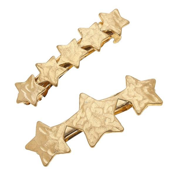 "Worn Gold Hammered Star Hair Barrette Set.  - 2pcs/set - Approximately 2.5"" L"