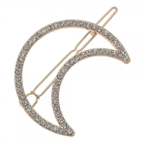 """Rhinestone Moon Hair Barrette.  - Approximately 2"""" in size"""