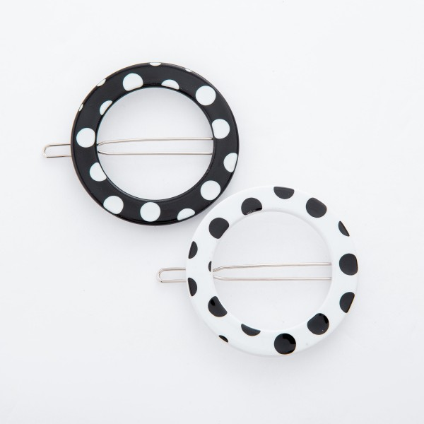 "Resin Polka Dot Circle Hair Barrette.  - Approximately 1.75"" in diameter"