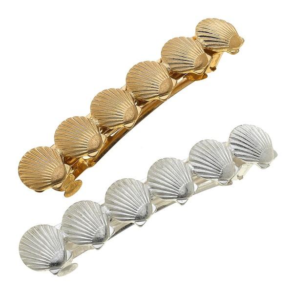 """Worn Two Tone Seashell Hair Barrette Set.  - 2pcs/set - Approximately 3.5"""" L"""