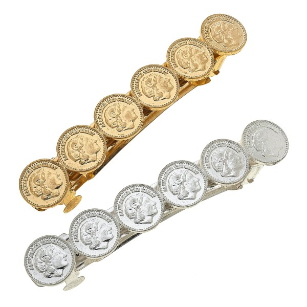 "Worn Two Tone Coin Hair Barrette Set.  - 2pcs/set - Approximately 3.5"" L"