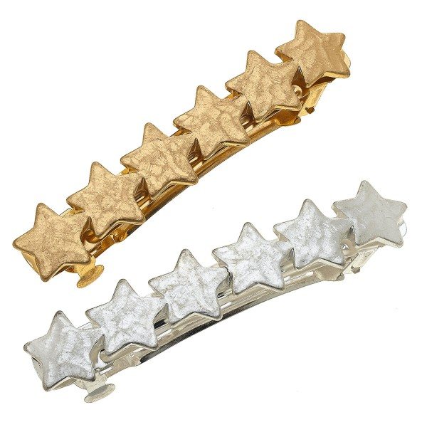 """Worn Two Tone Hammered Star Hair Barrette Set.  - 2pcs/set - Approximately 3.5"""" L"""