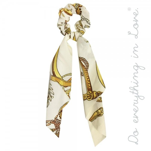 Do Everything In Love Brand Lightweight Designer Inspired Print Hair Scarf Scrunchie One Size Approximately 12 L 100 Polyester 711970 Wholesale Fashion Jewelry