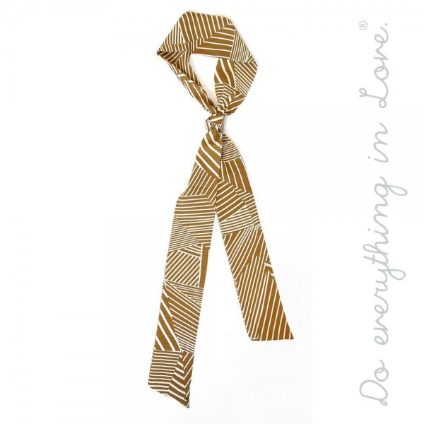 "Do everything in Love brand lightweight geometric striped scarf accessory.  - Headwrap  - Neckerchief  - Belt  - Purse scarf   - One size  - Approximately 3"" W x 70"" L - 100% Polyester"