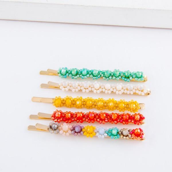 "Flower Beaded Hair Pin Set.  - 2pcs/set - Approximately 2.75"" L"