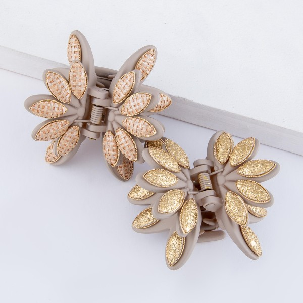 """Taupe Woven Flower Claw Hair Clip.  - Approximately 2"""" in size/diameter"""