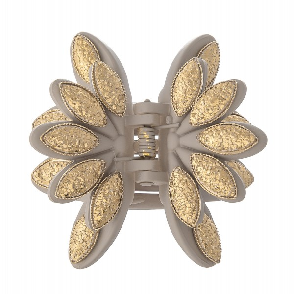 """Gold Drip Flower Claw Hair Clip.  - Approximately 2"""" in size/diameter"""
