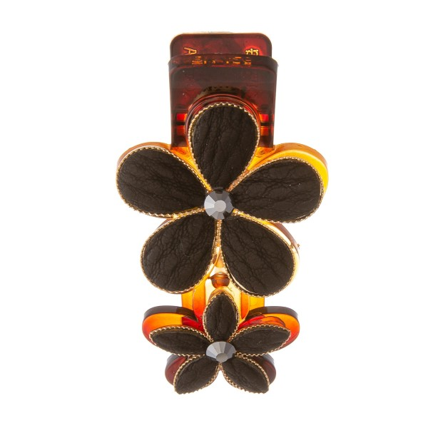 """Black Faux Leather Flower Resin Hair Clip.  - Approximately 2"""" L"""