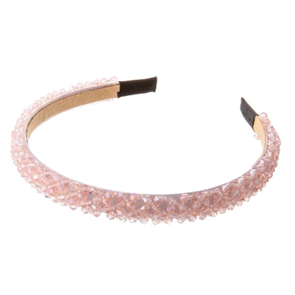 Crystal Beaded Narrow Headband.  - One size fits most] - 100% Polyester