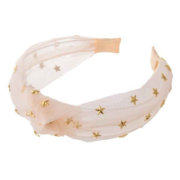 Knotted Tulle Headband with Gold Stars.  - One size fits most - 100% Polyester