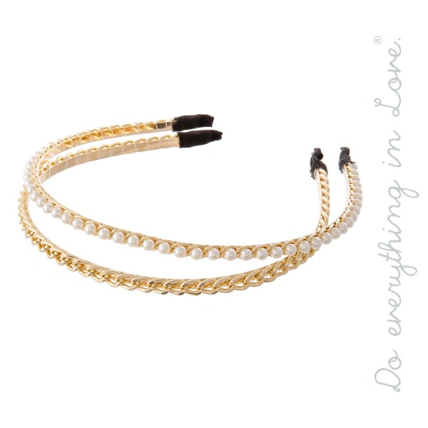 Do everything in Love Brand Gold Chain & Pearl Beaded Headband Set.  - Two Headbands Per Pack - One size fits most