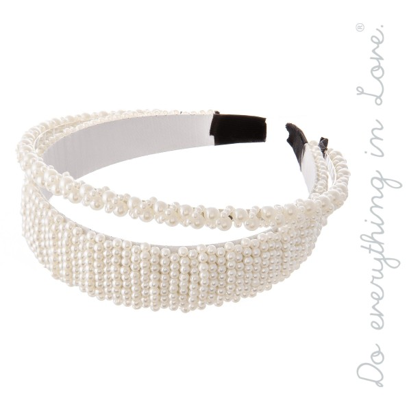 Wholesale do everything Love Brand Ivory Pearl Beaded Headband Set Two Headbands