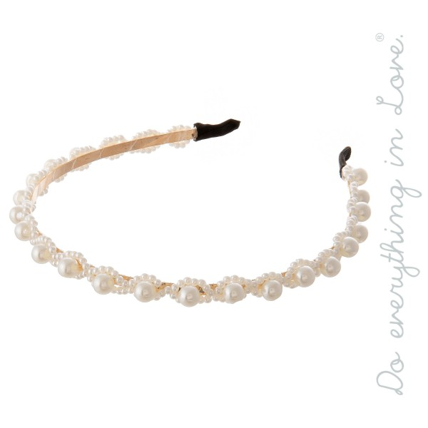 Do everything in Love Brand Ivory Pearl Beaded Headband.  - One size fits most