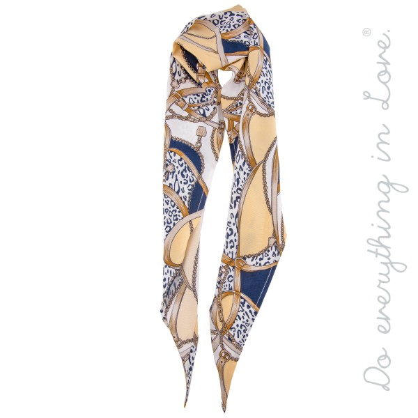 "Do everything in Love Brand Multi-Function Designer Chain Mix Print Fashion Scarf.  *Can be worn as  - Hair Scarf - Bag / Purse Scarf Accessory  - Neckerchief  - Bias Cut   - Approximately 13.5"" W x 42"" L - 100% Polyester"