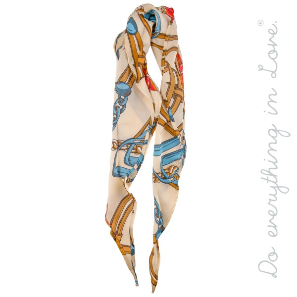 "Do everything in Love Brand Multi-Function Designer Leather Strap Print Fashion Scarf.  *Can be worn as  - Hair Scarf - Bag / Purse Scarf Accessory  - Neckerchief  - Bias Cut   - Approximately 13.5"" W x 42"" L - 100% Polyester"