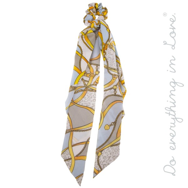 "Do everything in Love Brand Designer Chain Mix Print Hair Pony Scarf.  - Approximately 18"" L  - 100% Polyester"