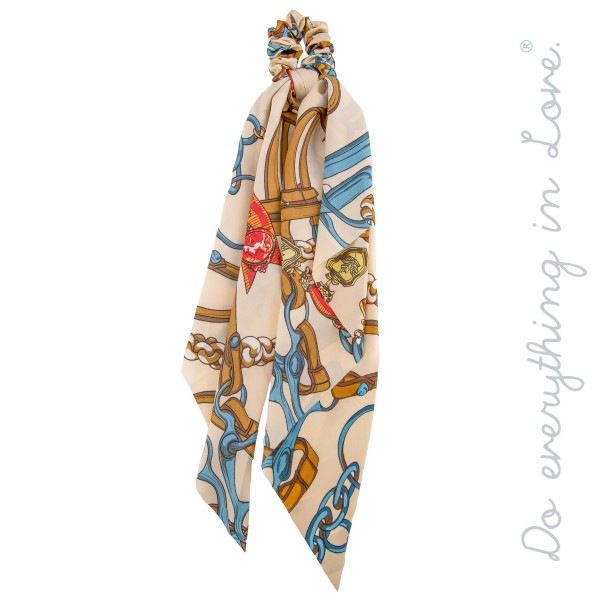 "Do everything in Love Brand Designer Leather Strap Print Hair Pony Scarf.  - Approximately 18"" L  - 100% Polyester"