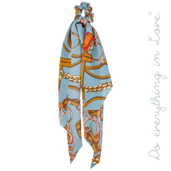 """Do everything in Love Brand Designer Leather Strap Print Hair Pony Scarf.  - Approximately 18"""" L  - 100% Polyester"""
