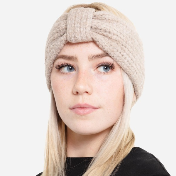 Wholesale fuzzy Soft Knit Bow Headwrap One fits most Acrylic Polyester Spandex