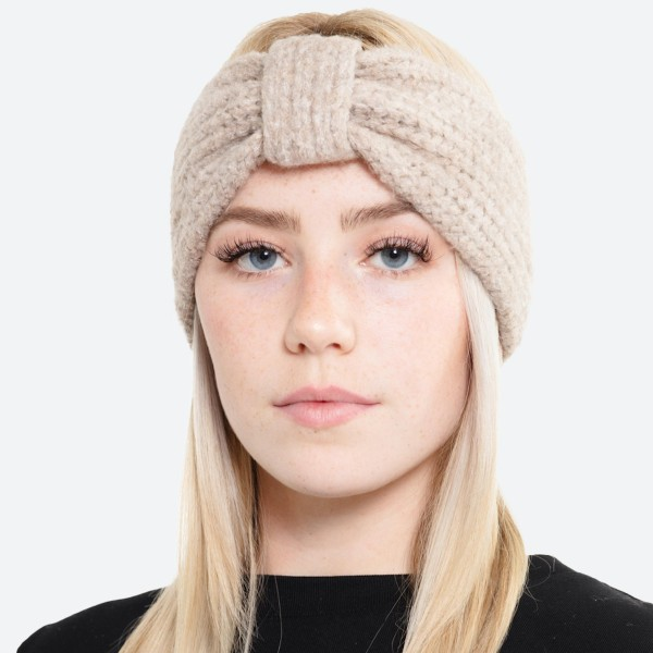 Fuzzy Soft Knit Bow Headwrap.  - One size fits most - 74% Acrylic / 22% Polyester / 4% Spandex