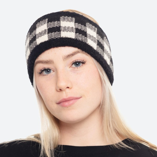 """Super Soft Fuzzy Knit Buffalo Check Headwrap.  - One size fits most - 4"""" Band With - 100% Polyester"""