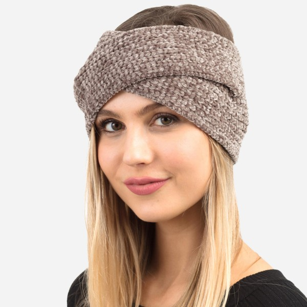 """Chenille Knit Criss-Cross Head Wrap.  - One size fits most - 18"""" Head Circumference  - 6.5"""" in Width - 100% Polyester"""