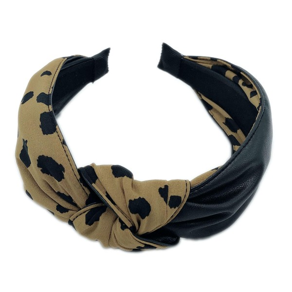 Do everything in Love Brand Half Animal Print Half PU Knotted Headband.  - One size fits most - 50% Polyester / 50% PU