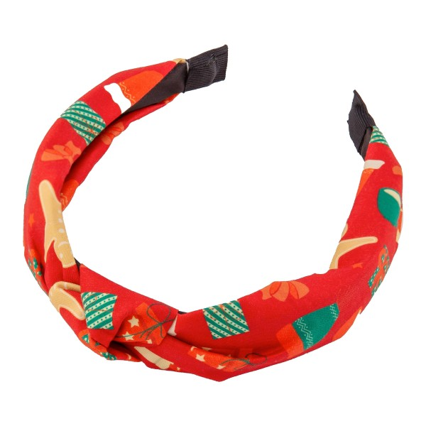 Holly Jolly Christmas Print Knotted Headband.  - One size fits most - 100% Polyester