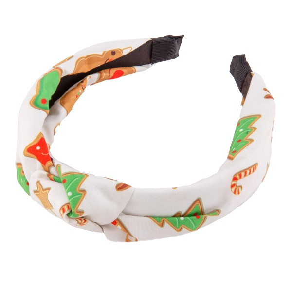 Gingerbread Christmas Print Knotted Headband.  - One size fits most - 100% Polyester