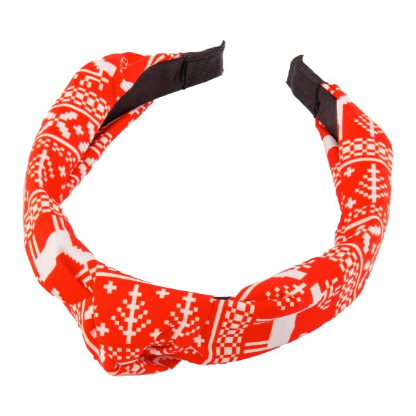 Reindeer Fair Isle Christmas Print Knotted Headband.  - One size fits most  - 100% Polyester