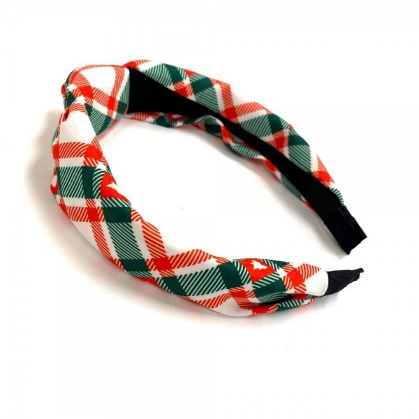 Christmas Plaid Print Knotted Headband.  - One size fits most - 100% Polyester