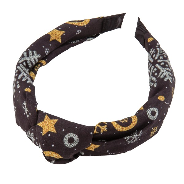 Snowflake Knotted Christmas Print Headband.  - One size fits most - 100% Polyester